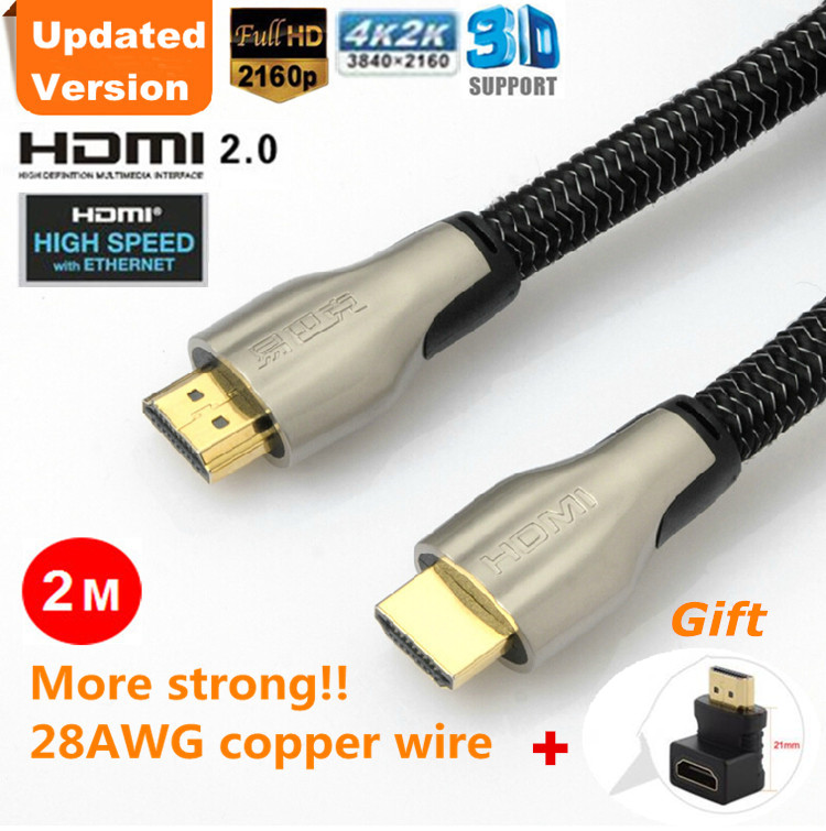 Free Shipping Gold Plated 2m High Speed Hdmi 2 0 Cable