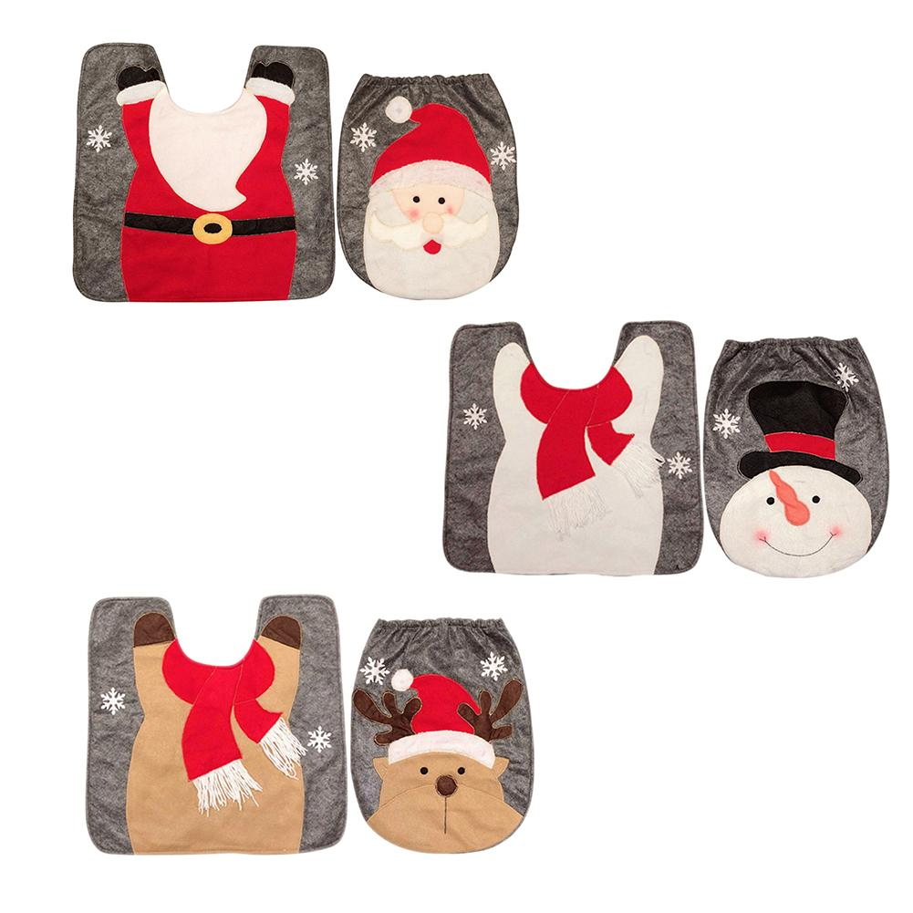 Toilet Foot Pad Seat Cover Cap Christmas Decorations Happy Santa Toilet Seat Cover And Rug Bathroom Accessory Santa Claus