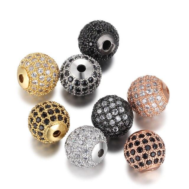 Beiver 5 pçs/lote 8mm/10mm Luxo Micro Pave AAA + Zircon Europeia Spacer Beads Rodada Bola Forma encantos Pulseira para A Tomada de Jóias