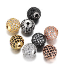 Beiver 5pcs/lot 8mm/10mm Luxury Micro Pave AAA+ Zircon European Spacer Beads Round Ball Shape Charms for Bracelet Making Jewelry(China)