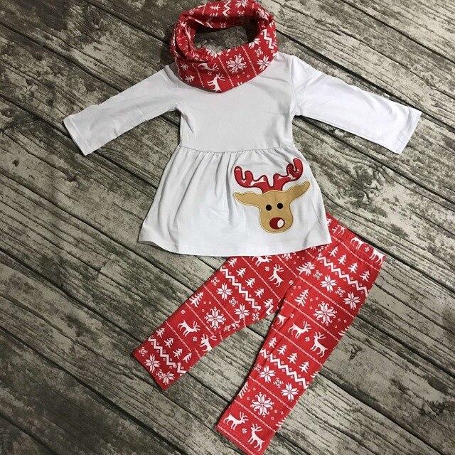 Девушки Рождество новый дизайн X-mas 3 шт. с шарфом наряды детские детской одежды оленьи одежда красный олень Azect брюки топ-белый