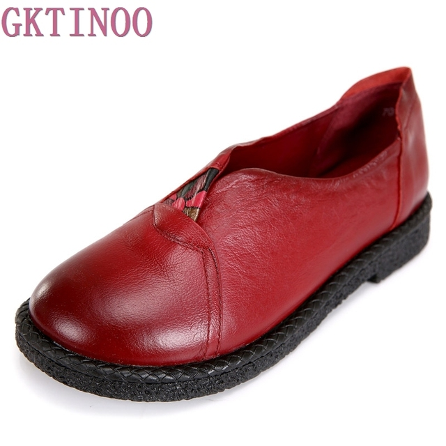 GKTINOO Women Genuine Leather Flat Shoes Woman Loafers 2018 New Fashion Women Casual Single Shoes Women Flats