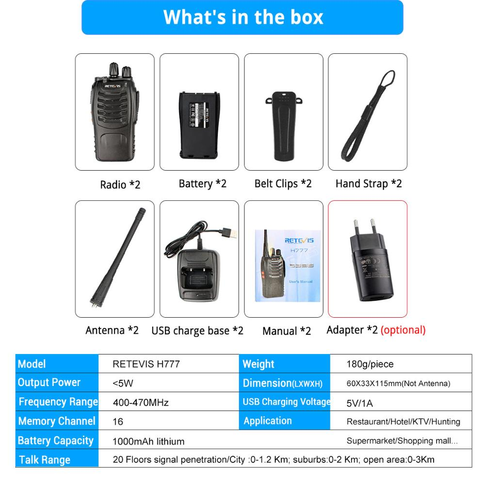 Image 5 - 4 pcs Handy Walkie Talkie RETEVIS H777 3W UHF Transceiver Two Way Radio Station Communicator Two way Radio Walkie Talkie Hotel-in Walkie Talkie from Cellphones & Telecommunications