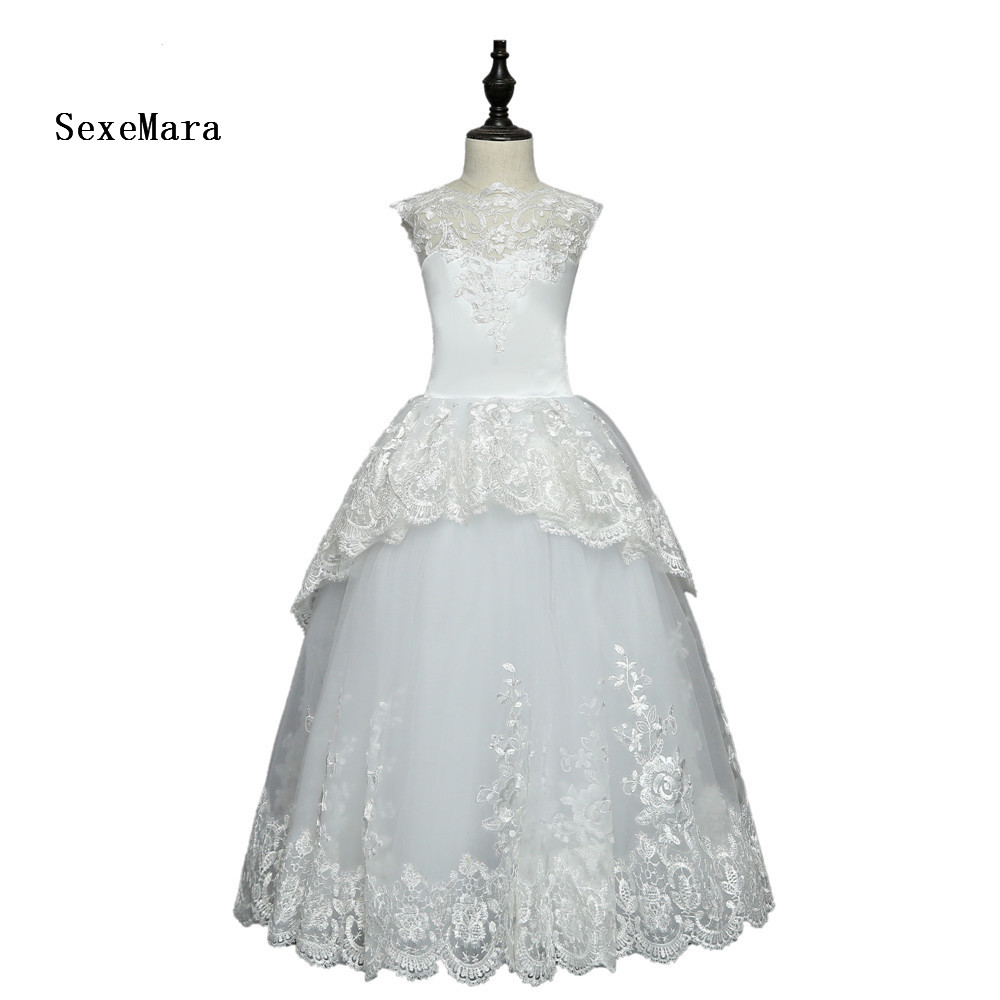 купить Beautiful Lace Flower Girl Dresses For Weddings Ball Gown Tulle Appliques Lace First Communion Dresses For Little Girls онлайн