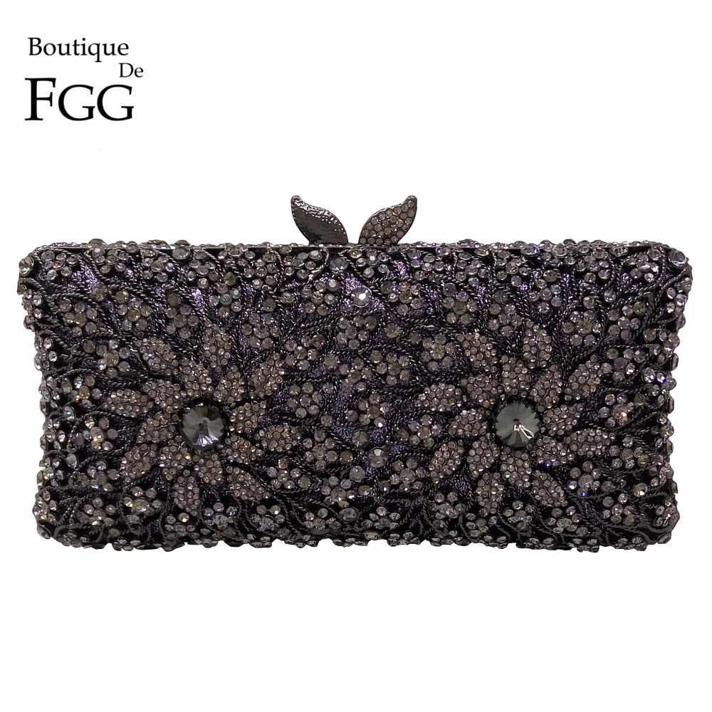 Elegance Hollow Out Flower Jet Black Crystal Women Evening Bags Metal Shoulder Handbag Minaudiere Clutch Bridal