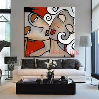 Pure Handmade Modern Abstract Portrait Figure Wall Art Acrylic Picture Home Wall Decorative Hand Painted Sex Couple Oil Painting