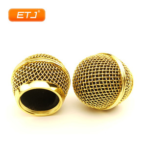 Image 2 - 2pcs מיקרופון כדור רשת סורג Beta58 SM 58 מיקרופון אביזרי כדור ראש החלפת אבזר אלקטרוליטי זהב צבע