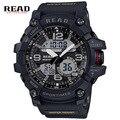 Read marca dos homens do esporte militar relógios de quartzo dos homens mostrador redondo grande balança digital levou relógio de pulso analógico relogio militan 90001