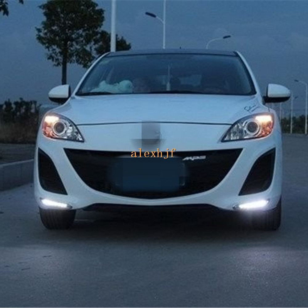 Jult King LED Daytime Running Lights DRL, LED Front Bumper Fog Lamp case for Mazda 3 Axela Article 2010~13, 1:1, Free Shipping brand new set led drl daytime running daylights for bmw f25 x3 2010 2014 front driving bumper fog lights dimmable drl lamp
