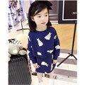 Spring/Autumn Baby Girl Clothing Set Long Sleeve Rabbit Print Sweatshirt+Dress 2 Pcs Children Cloth Suit Kids Set X0979