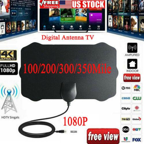 TV Flat HD Digital Indoor Antenna TV Antenna 350 Miles Range 1080P 4K16ft Signal Receiver Mini Amplifier TV HDTV Antennas Aerial