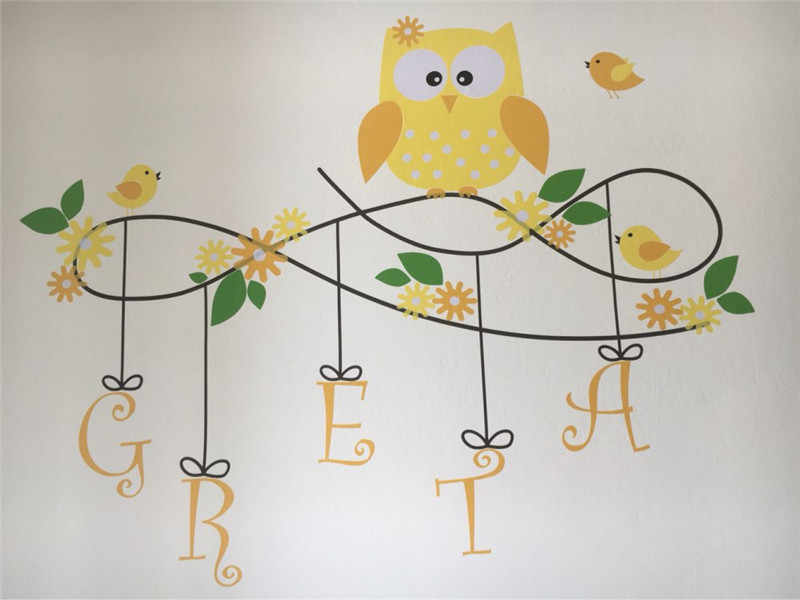 B13 Owl Wall Decal Personalized Name Vinyl Birds Flower Wall Sticker Art  Mural Vinyls Wall Stickers Owls Nursery Kids Room Decor