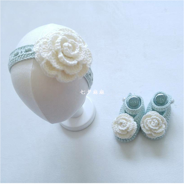 Hand Woven New Baby Hundred Day Gift Set, Big Flower, Hair Band, Cute Princess Baby Shoes.