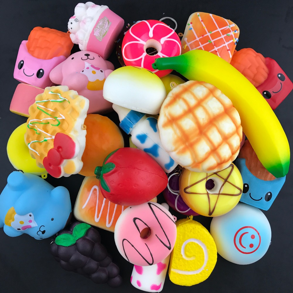 50pcs DHL Free soft Jumbo squishy slow rising ice cream squeeze antistress fun toys cell phone keys pendant cute squishies