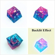 Handmade Blue & Pink Thick Resin Keycap Keycaps Backlit Key Cap For Cherry MX Mechanical Keyboard недорого