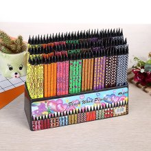 100pcs kawaii black wood pencil lot creative painted pencils for school office writing supplies cute HB pencil with erasers bulk