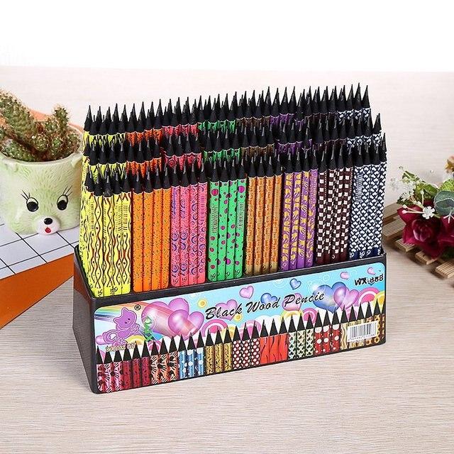 100pcs kawaii nero matita di legno lotto creativo dipinta matite per la scuola ufficio di scrittura forniture carino matita HB con gomme da cancellare bulk