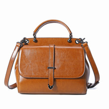 HANSOMFY  Real Cow Leather Ladies Women Genuine Leather Handbag Shoulder Bag  Designer Luxury Brand Boston