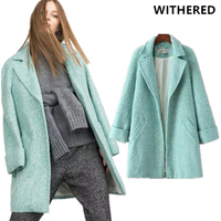 Withered Sales 2017 Winter Coat Women England Style High Street Grenn Trench Single Breasted Wool Long