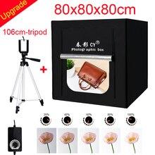CY 80*80 Fotoğraf Stüdyosu LED yumuşak kutu Çekim fotoğraf ışığı çadır seti + 3 Arka Planında + dimmer anahtarı Çocuk giyim çekim çadır kitleri