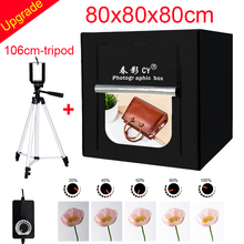 CY 80*80 Fotostudio LED soft box Schieten photo light tent set + 3 Achtergronden + dimmer kinderkleding shoting tent kits