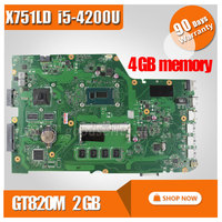 For ASUS Motherboard X751LD X751L K751L K751LN REV 2 0 Mainboard USB3 0 DDR3 With I5CPU