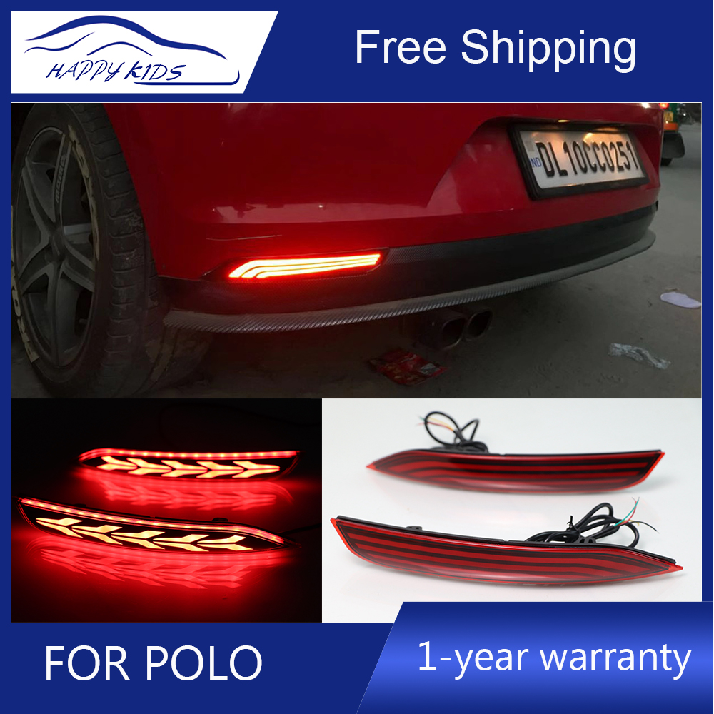 Car styling LED Reflector For Volkswagen POLO 2014 2018 led Reflector Rear Bumper Brake Light Driving