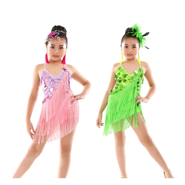 2e33307cf Girls Sequin Sparkling Latin Rumba Salsa Dresses Triple Tassel Dance  Costumes Age 5-9 Years