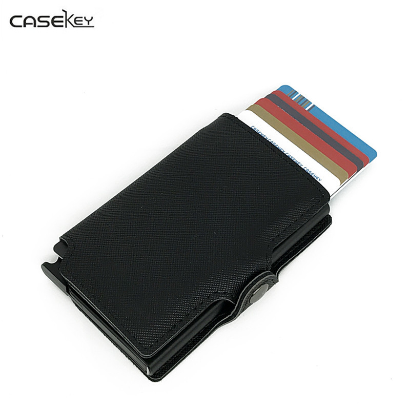 CaseKey Aluminum Box RFID Safe Card Wallet Credit Card Information Anti-theft Brush Card Holder Package Solid Black Color Purse aluminum alloy bank   credit card case holder box   blue