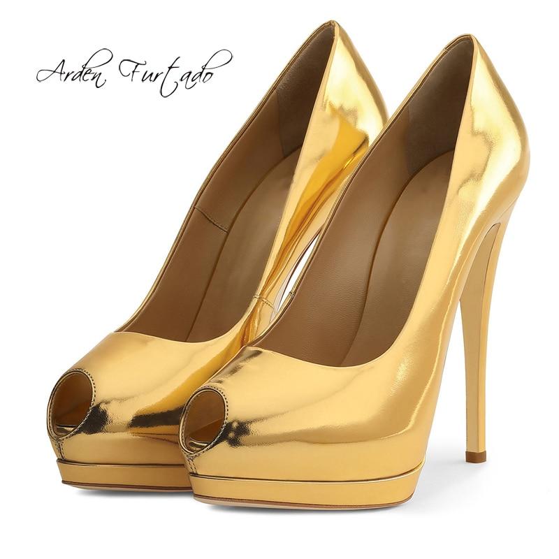 Arden Furtado 2018 Spring Autumn Shoes Woman High Heels 12cm Silver Red Nude Gold Slip On Stilettos Big Size Platform Pumps 43