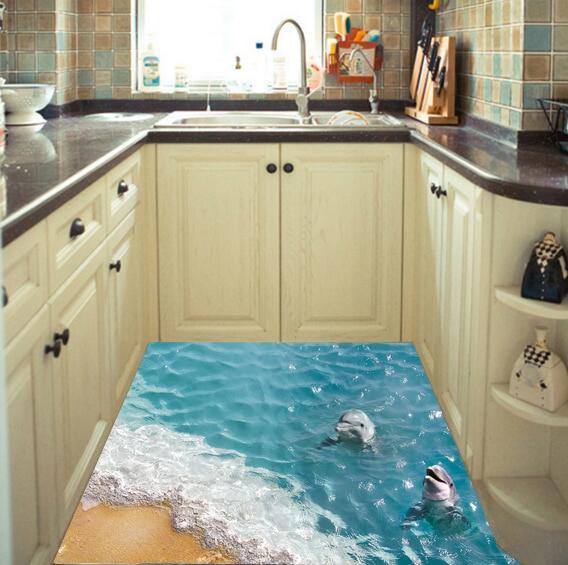 Sea Floor Stickers Dolphin Wall Stickers Beach Wallpapers Big Size Home Decor Creative Sea Animals On Floor Waterproof