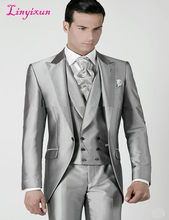 Linyixun Mens Wedding Suits 2018 Silver Prom Groom Tuxedos Jacket+Pants+Vest Custom Made Wedding Suits For Men Groomsmen Suits(China)