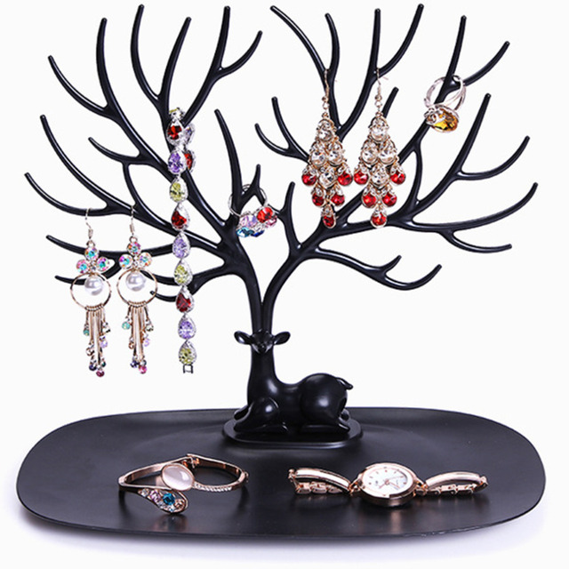 2017 New Display Organizer Holder Show Rack Jewelry Necklace Ring Earring Tree Stand
