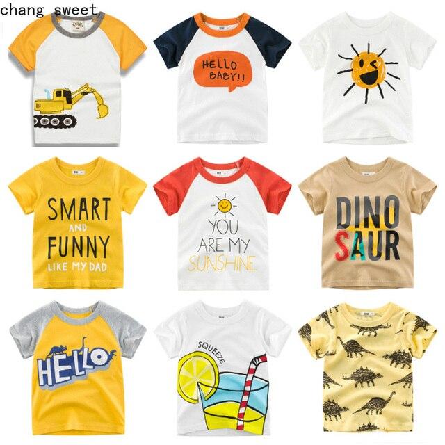 Los niños de verano Tops camisetas de algodón bebé excavadora imprimir Camisetas Niño manga corta Camiseta niñas cuello T camisa Niño ropa