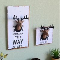 NIEUWE Amerikaanse land retro 3D herten Houten stickers hout schilderen muurschildering muur thee shop cafe woondecoratie wandkleden