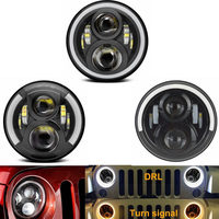 For Hummer H1 H2 Led Headlight Lada Niva 80W 60w 7 Inch LED Headlights Angel Eye DRL Amber Turn Signal for Jeep Wrangler JK Lamp
