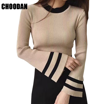 Flare Sleeve Sweaters And Pullovers Autumn Winter Knitted Sweater Women 2018 New Fashion Korean Style Female Fitness Basic Shirt