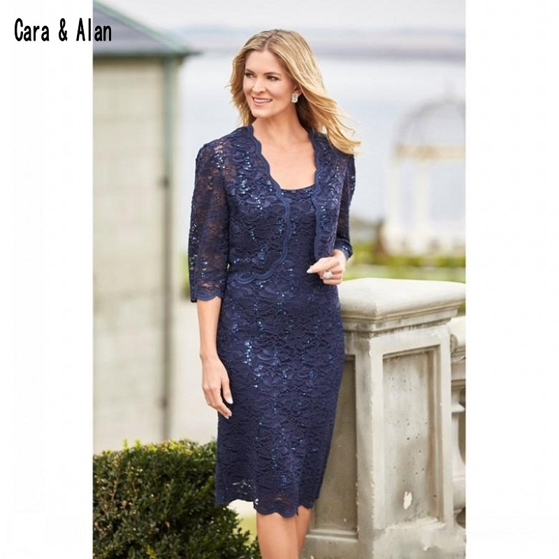 Mother Of The Groom Dress: Elegant Navy Blue Mother Bride Dresses With Jacket Lace