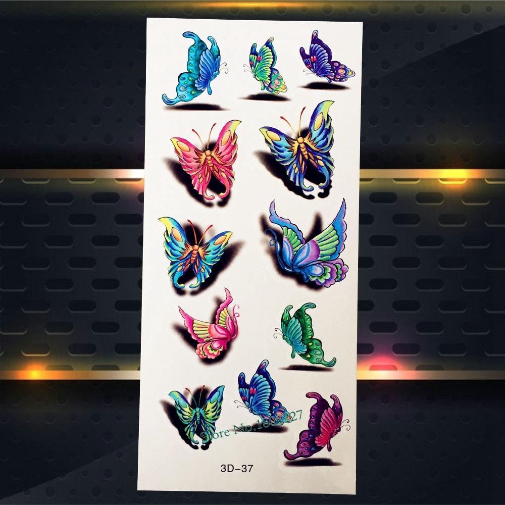 Lovely Butterfly Fairy Waterproof Temporary Tattoo Sticker Fake Flash Women Tattoo Body Art PGF602 Arm Tattoo Stickers Kids Gift