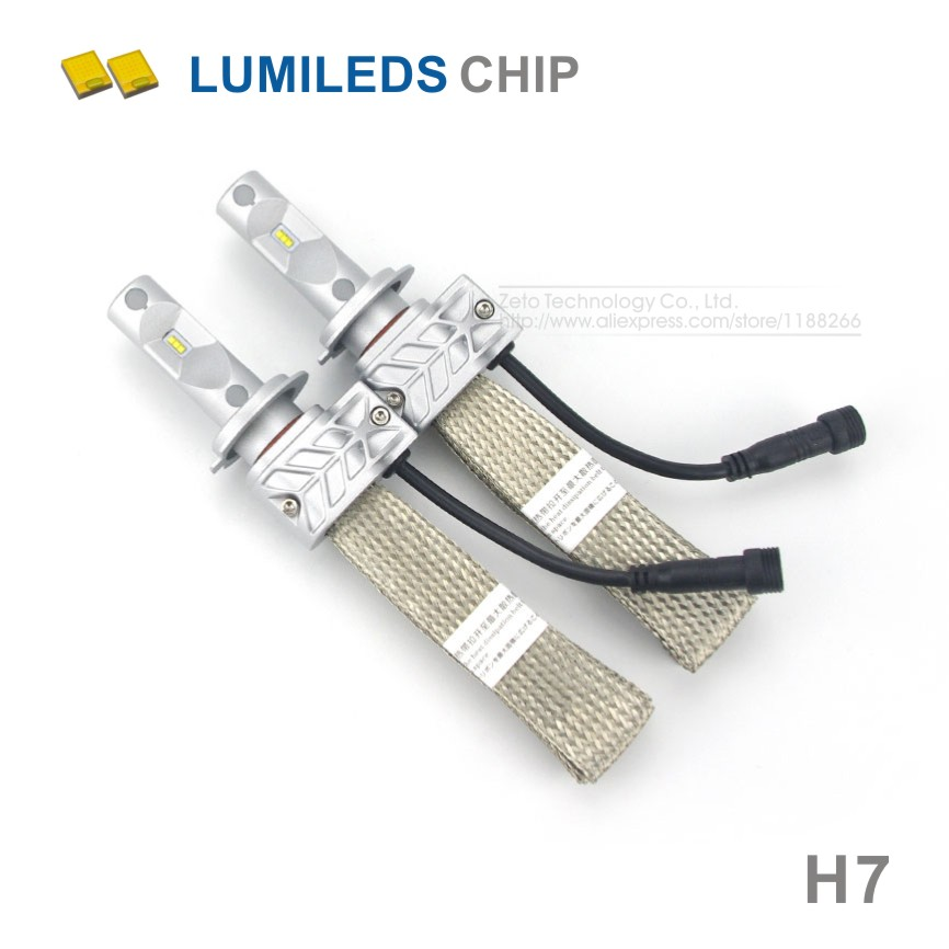 2x Car LED Headlight H7 8000LM For Lumileds Chips LUXEON ZES Car Fog DRL Replace font
