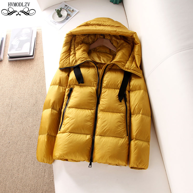 Six Colors Winter Hooded Basic Down Jacket Female 2019 White Duck Feather Light And Thin Fashion Coat Female Plus Size HI168