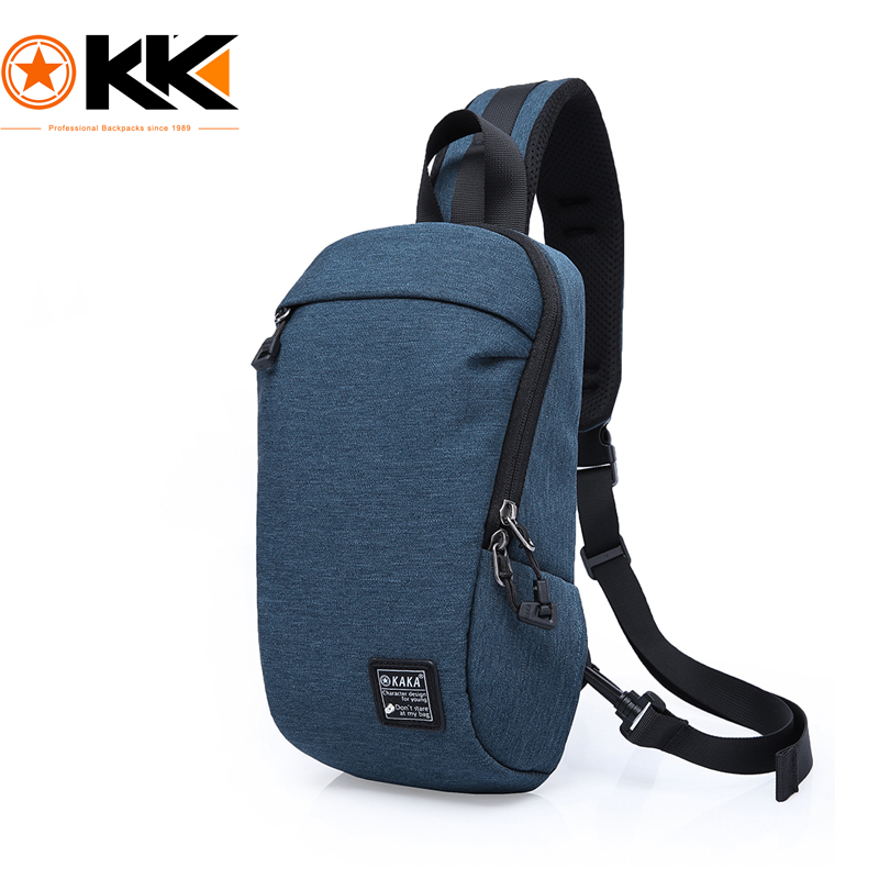 KAKA Fashion Blue Crossbody Bags Men Casual Water Repellent Chest Bag Pack  For Short Trip Summer Multifunction Messenger Bags 4ea8ae6971