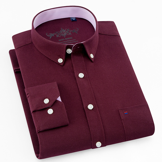 2018 New Wine Red Color Oxford Men Business Dress Shirts On Down Collar Non Iron High Quality Long Sleeve