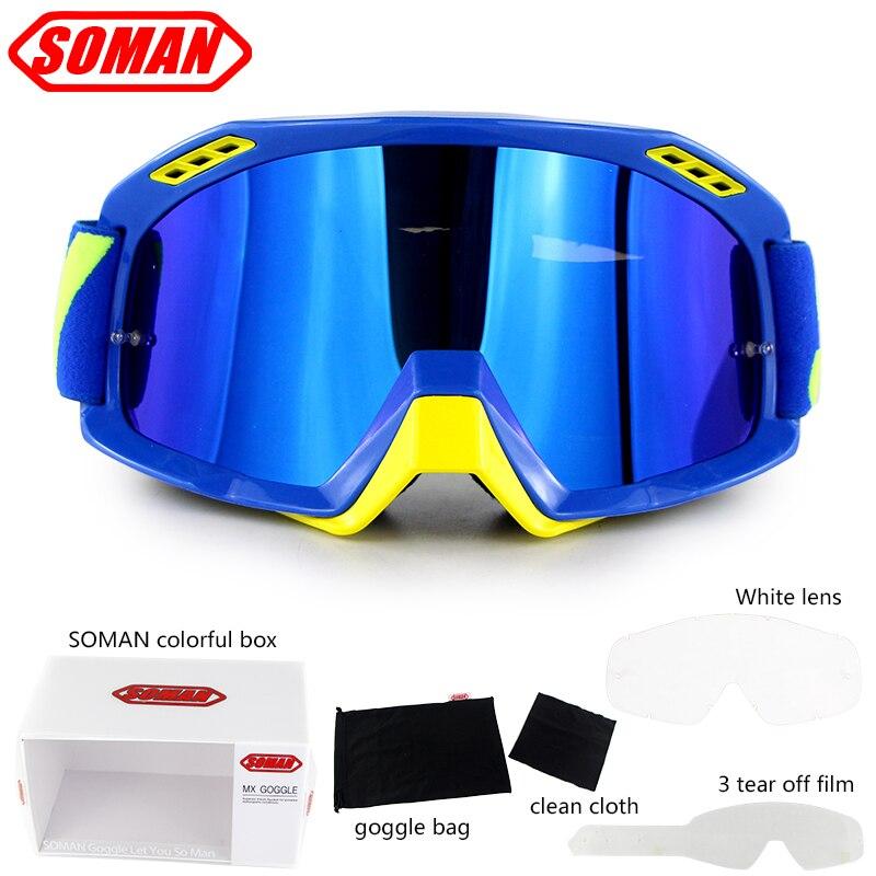 Soman lunettes de motocross avec 3 film détachable et lentille blanche casque de moto lunettes moto vélo cyclisme gafas mx hors route lunettes