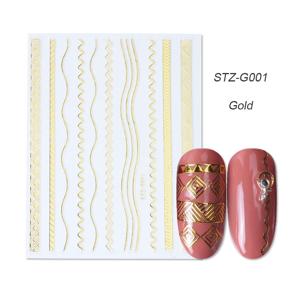 1 шт золотые Серебристые 3D наклейки для ногтей прямые изогнутые вкладыши полосы ленты обертывания геометрический дизайн ногтей украшения BESTZG001-013 - Цвет: STZ-G001 Gold