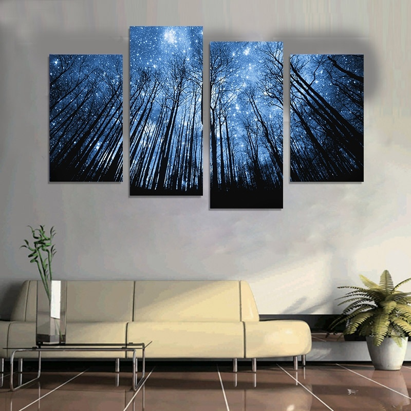 Buy 2016 new style frameless painting dream valley canvas wall art 4 panel for Canvas prints for living room
