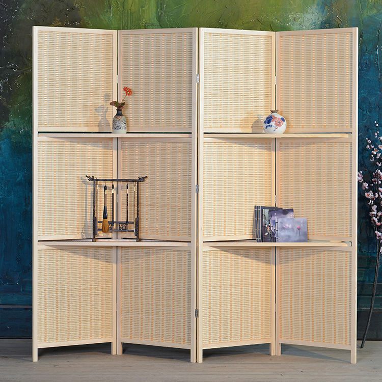 bamboo 4 panel folding room divider screen w removable storage shelves hinged privacy screen. Black Bedroom Furniture Sets. Home Design Ideas