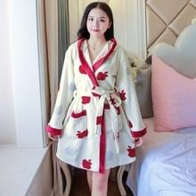 Thick Warm Soft Flannel Kimono Hooded Robes for Women 2019 Winter Long Sleeve Coral Velvet Bathrobes