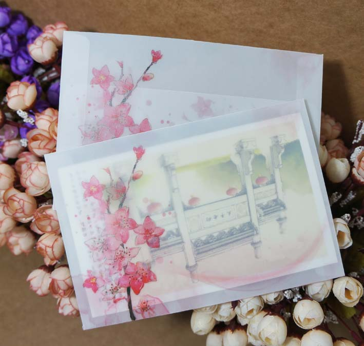 10Pcs/Lot 12.5X17.5Cm B6 Chinese Style Vintage Peach Blossom Flower Parchment Paper Envelopes Craft Gift Envelopes
