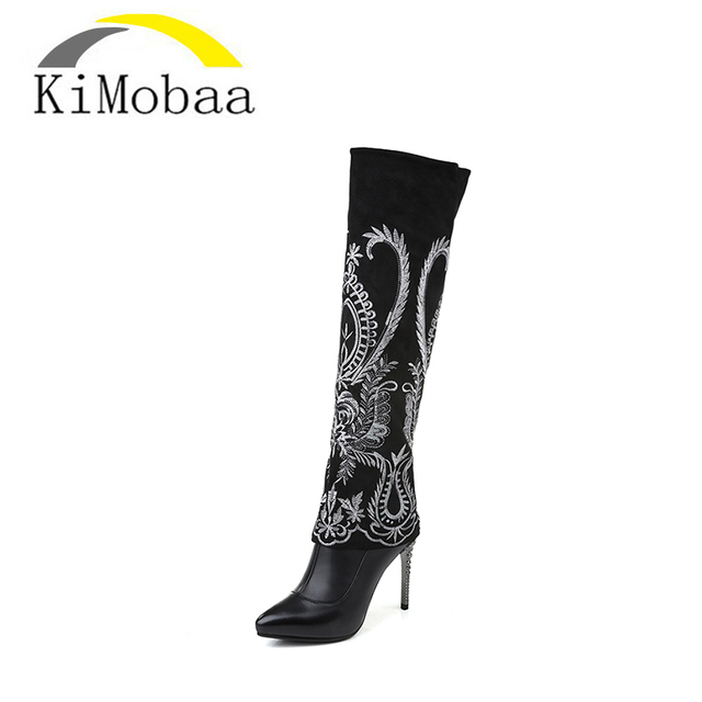 Women's Embroidery High-Heel Cow Suede Leather Boots